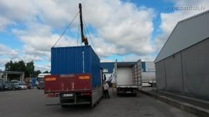 Погрузка контейнерной рыбной фермы на машину
